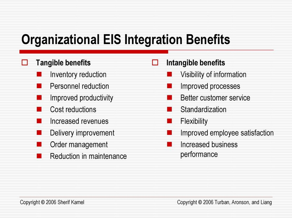 customer service Cost reductions Standardization Increased revenues Flexibility Delivery