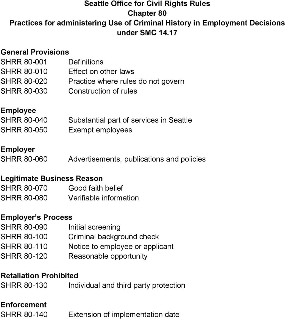 Employer SHRR 80-060 Substantial part of services in Seattle Exempt employees Advertisements, publications and policies Legitimate Business Reason SHRR 80-070 Good faith belief SHRR 80-080 Verifiable