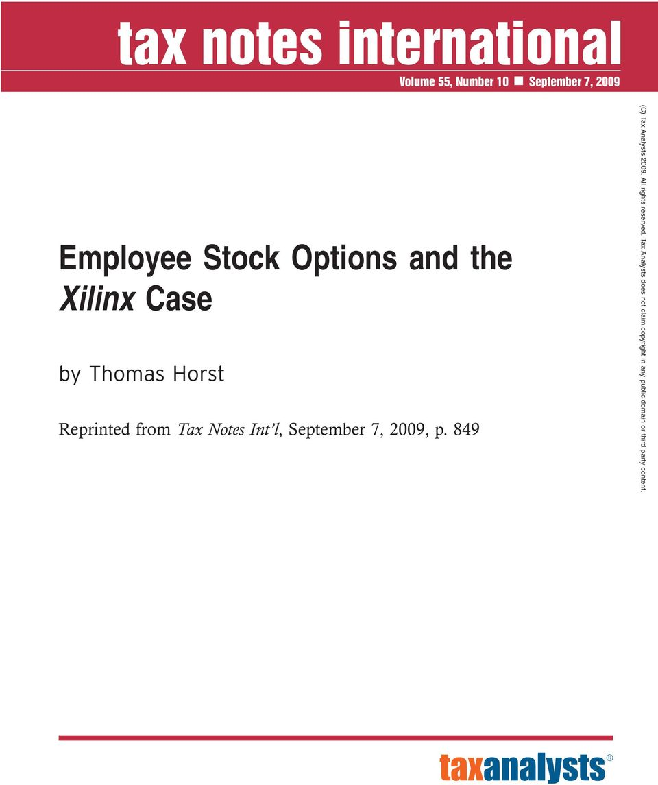 Employee Stock Options and the Xilinx Case - PDF