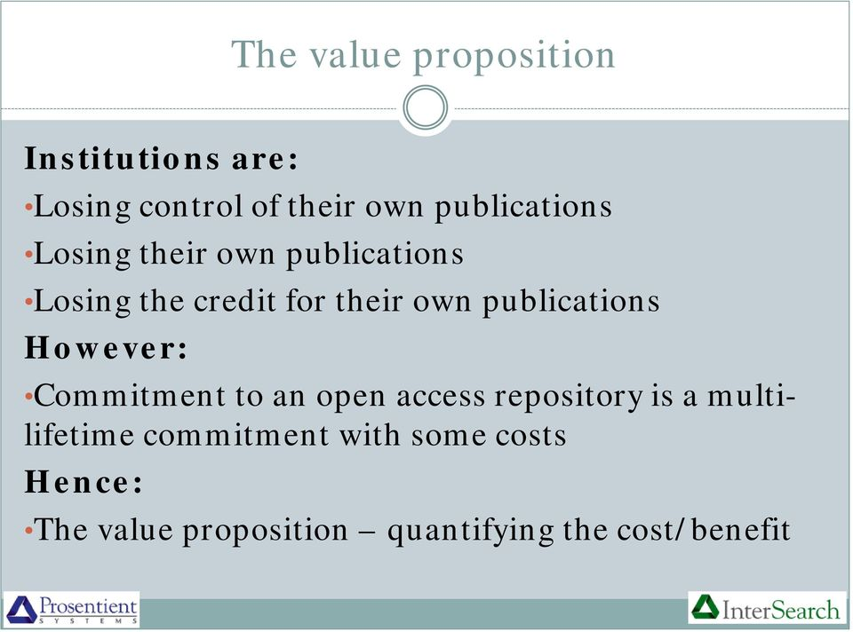 publications However: Commitment to an open access repository is a