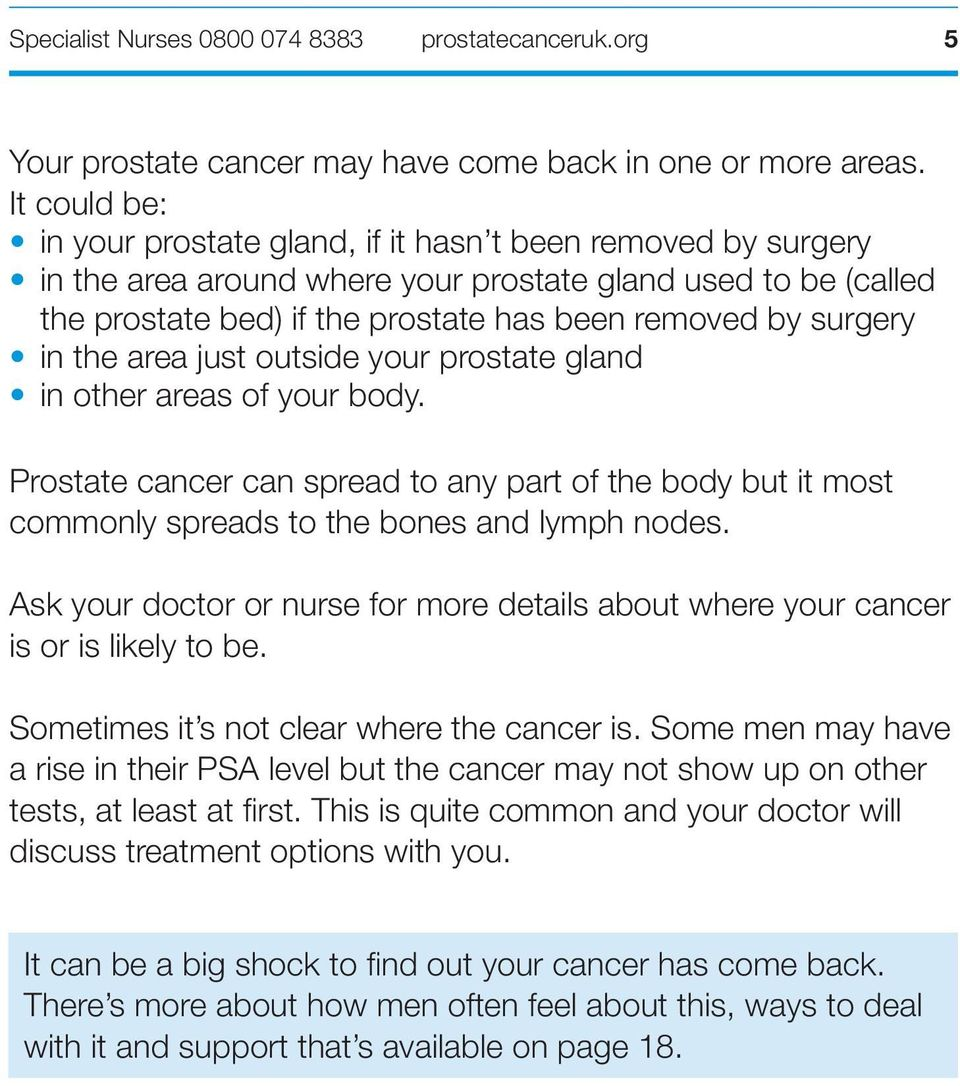 in the area just outside your prostate gland in other areas of your body. Prostate cancer can spread to any part of the body but it most commonly spreads to the bones and lymph nodes.