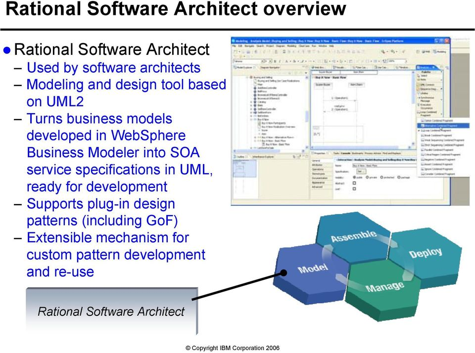 Modeler into SOA service specifications in UML, ready for development Supports plug-in design