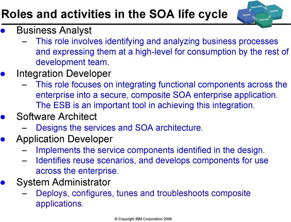 The ESB is an important tool in achieving this integration. Software Architect Designs the services and SOA architecture.