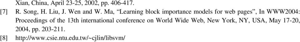 Ma, Learning block importance models for web pages, In WWW2004: Proceedings