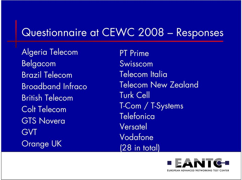 Novera GVT Orange UK PT Prime Swisscom Telecom Italia Telecom New