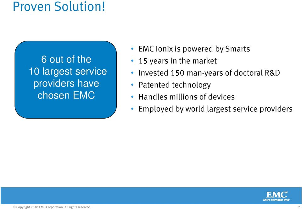 providers have Patented technology chosen EMC 15 years in the