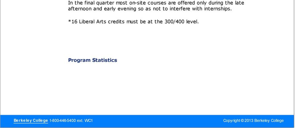 *16 Liberal Arts credits must be at the 300/400 level.