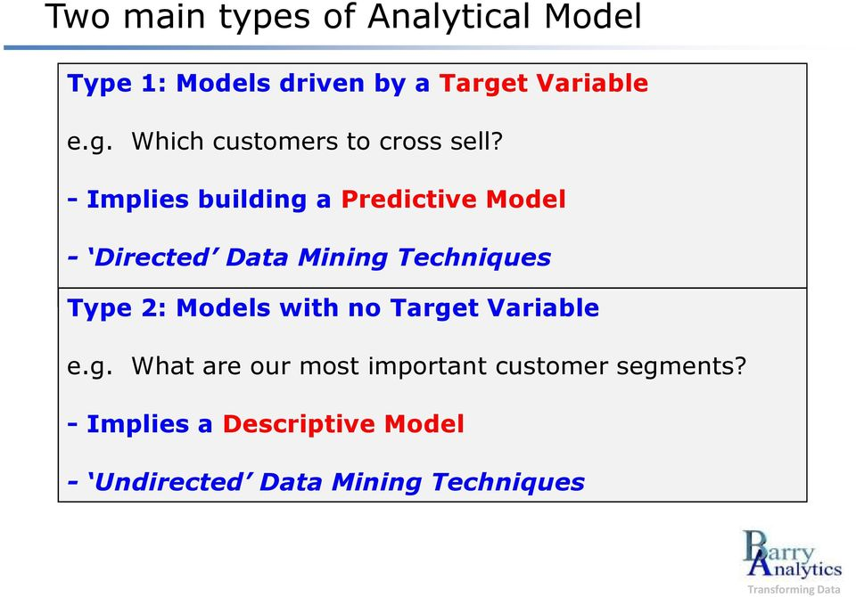 - Implies building a Predictive Mdel - Directed Data Mining Techniques Type 2: Mdels