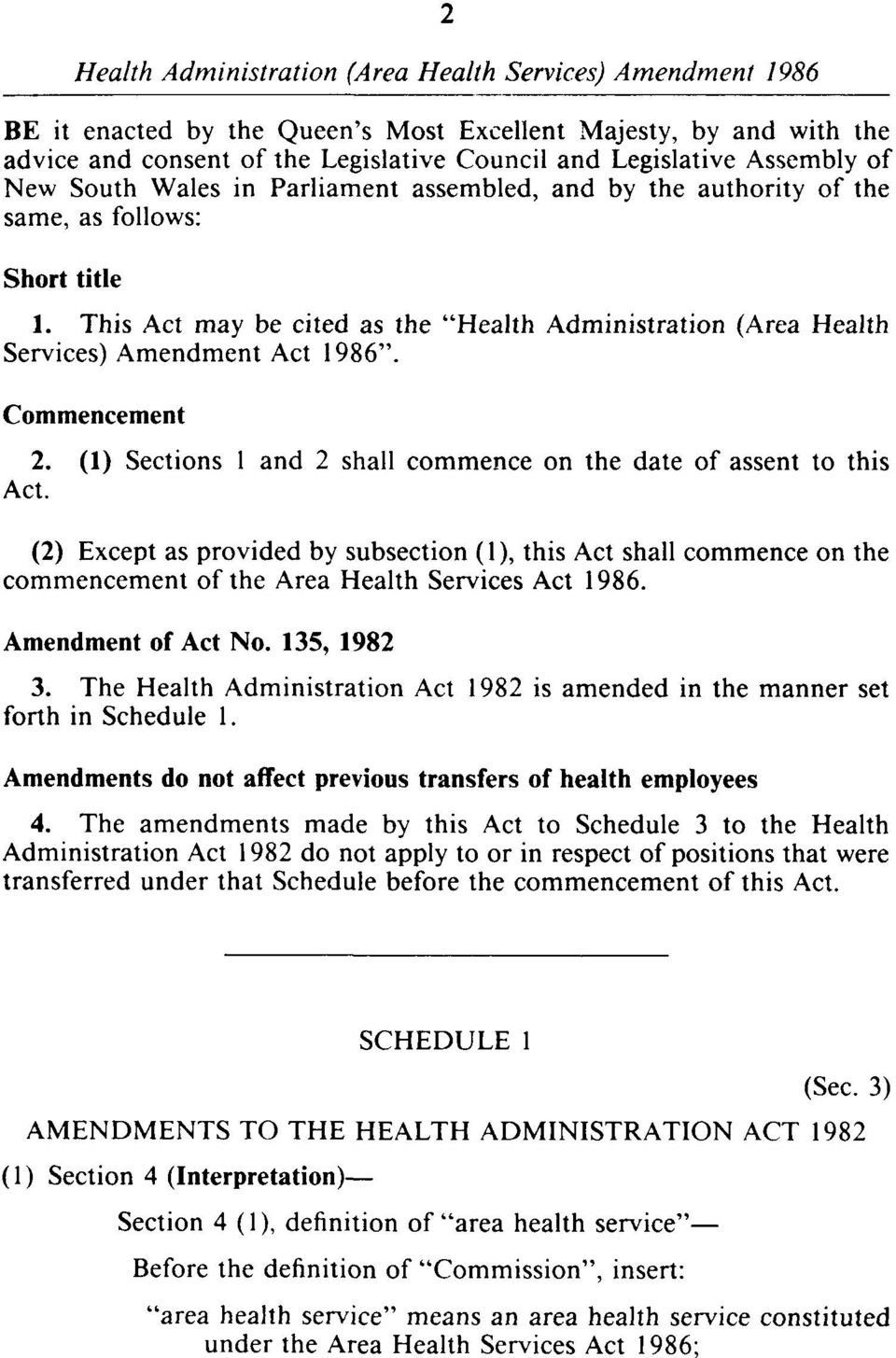 (1) Sections 1 and 2 shall commence on the date of assent to this Act. (2) Except as provided by subsection (1), this Act shall commence on the commencement of the Area Health Services Act 1986.