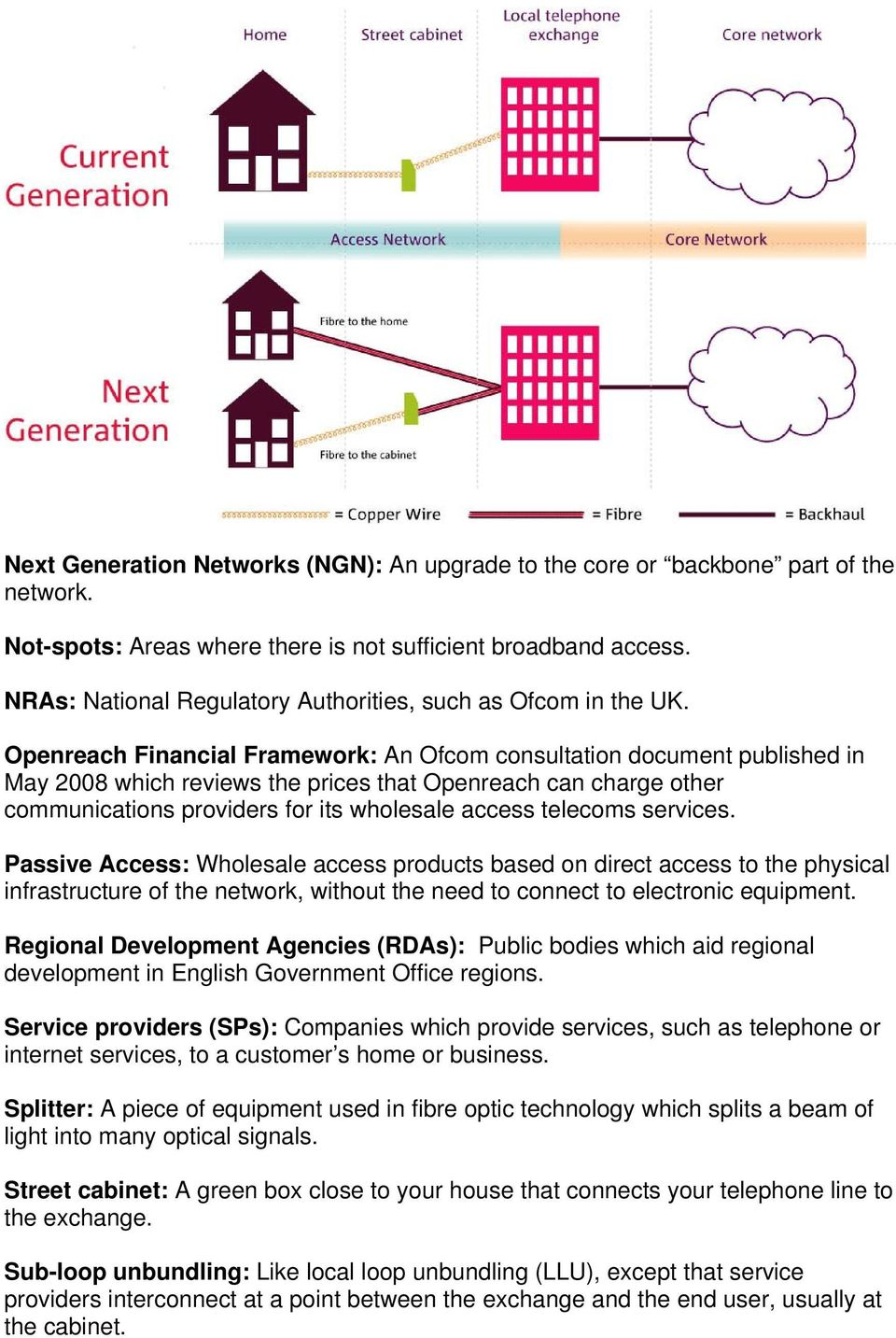 Openreach Financial Framework: An Ofcom consultation document published in May 2008 which reviews the prices that Openreach can charge other communications providers for its wholesale access telecoms