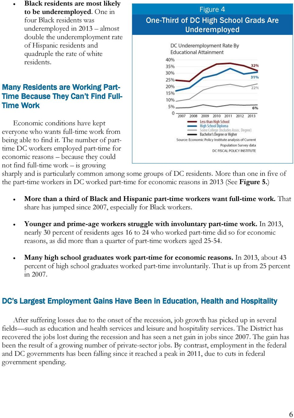 Figure 4 One-Third of DC High School Grads Are Underemployed Many Residents are Working Part- Time Because They Can t Find Full- Time Work Economic conditions have kept everyone who wants full-time