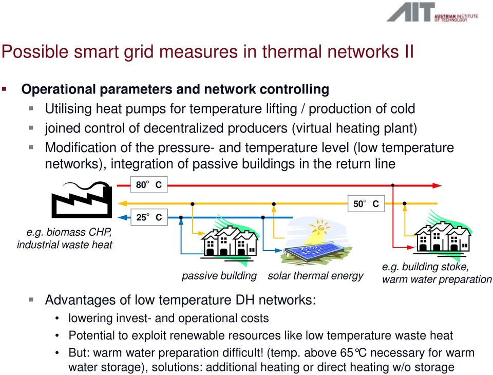 g. building stoke, warm water preparation Advantages of low temperature DH networks: lowering invest- and operational costs Potential to exploit renewable resources like low temperature waste heat