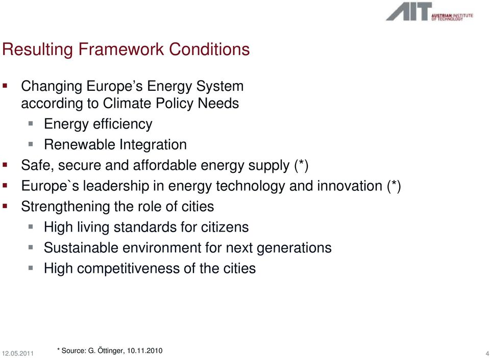 technology and innovation (*) Strengthening the role of cities High living standards for citizens Sustainable