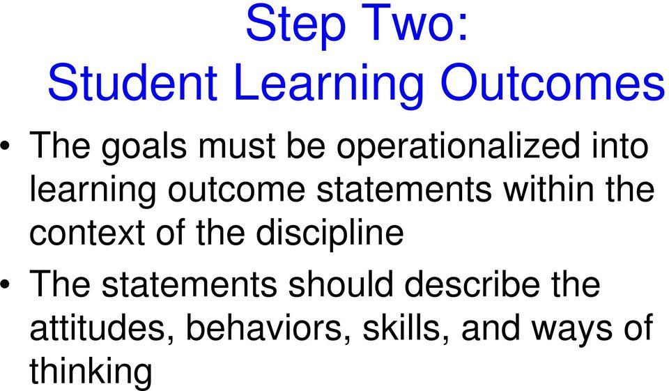 the context of the discipline The statements should