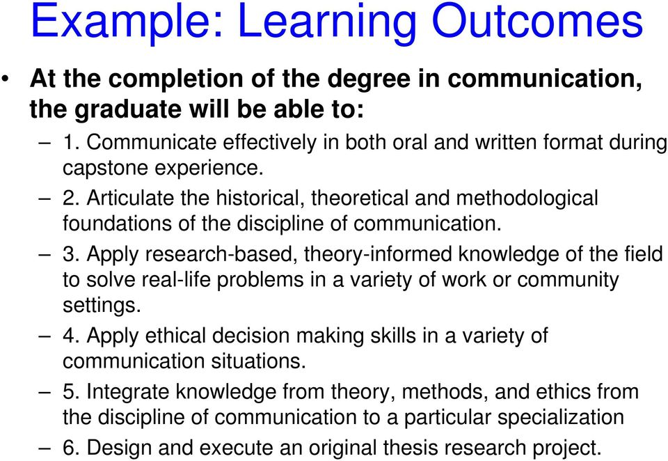 Articulate the historical, theoretical and methodological foundations of the discipline of communication. 3.