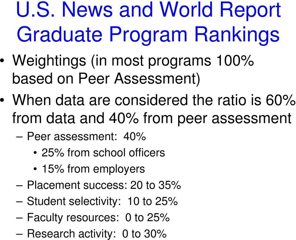 assessment Peer assessment: 40% 25% from school officers 15% from employers Placement