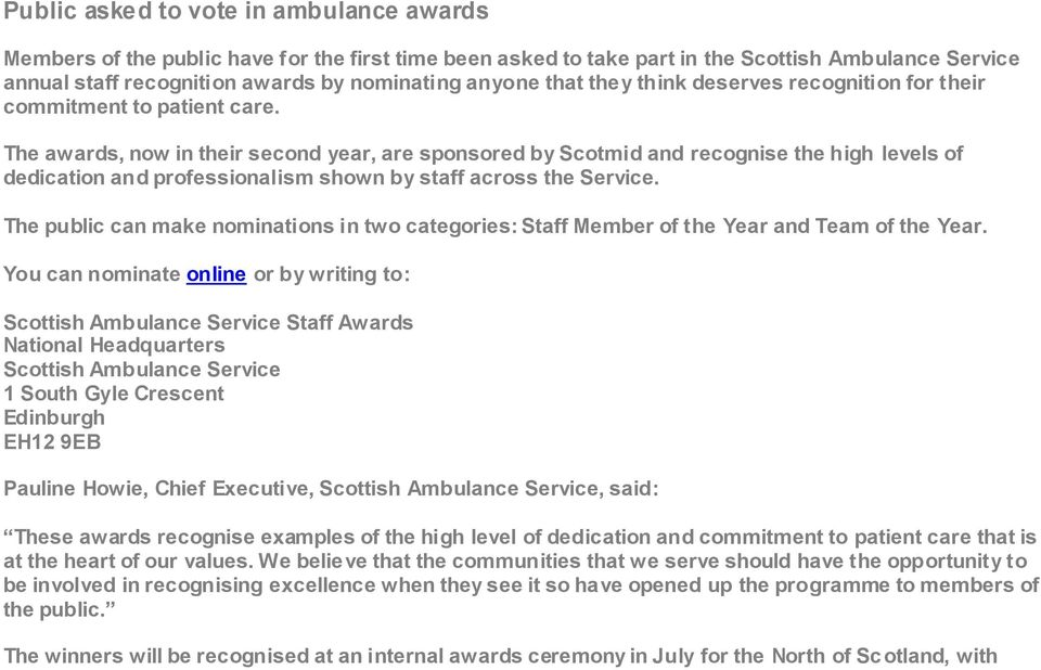 The awards, now in their second year, are sponsored by Scotmid and recognise the high levels of dedication and professionalism shown by staff across the Service.