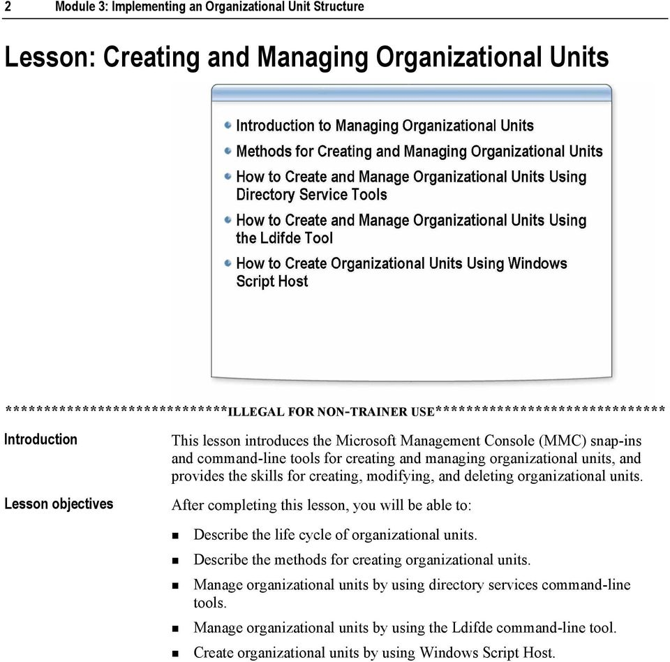 for creating, modifying, and deleting organizational units. After completing this lesson, you will be able to:! Describe the life cycle of organizational units.