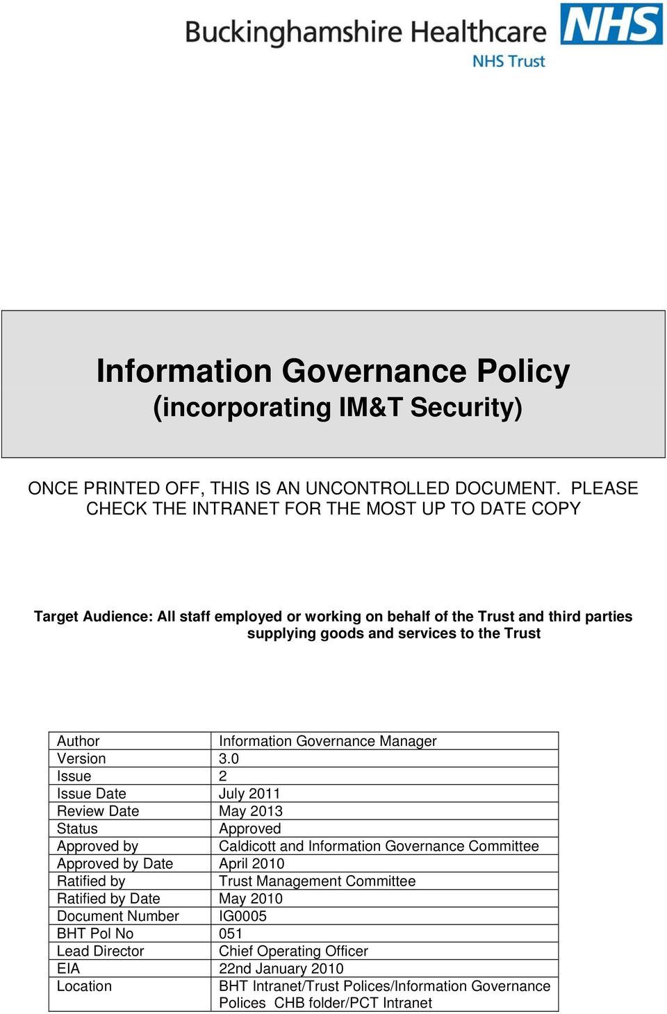 Trust Author Information Governance Manager Version 3.