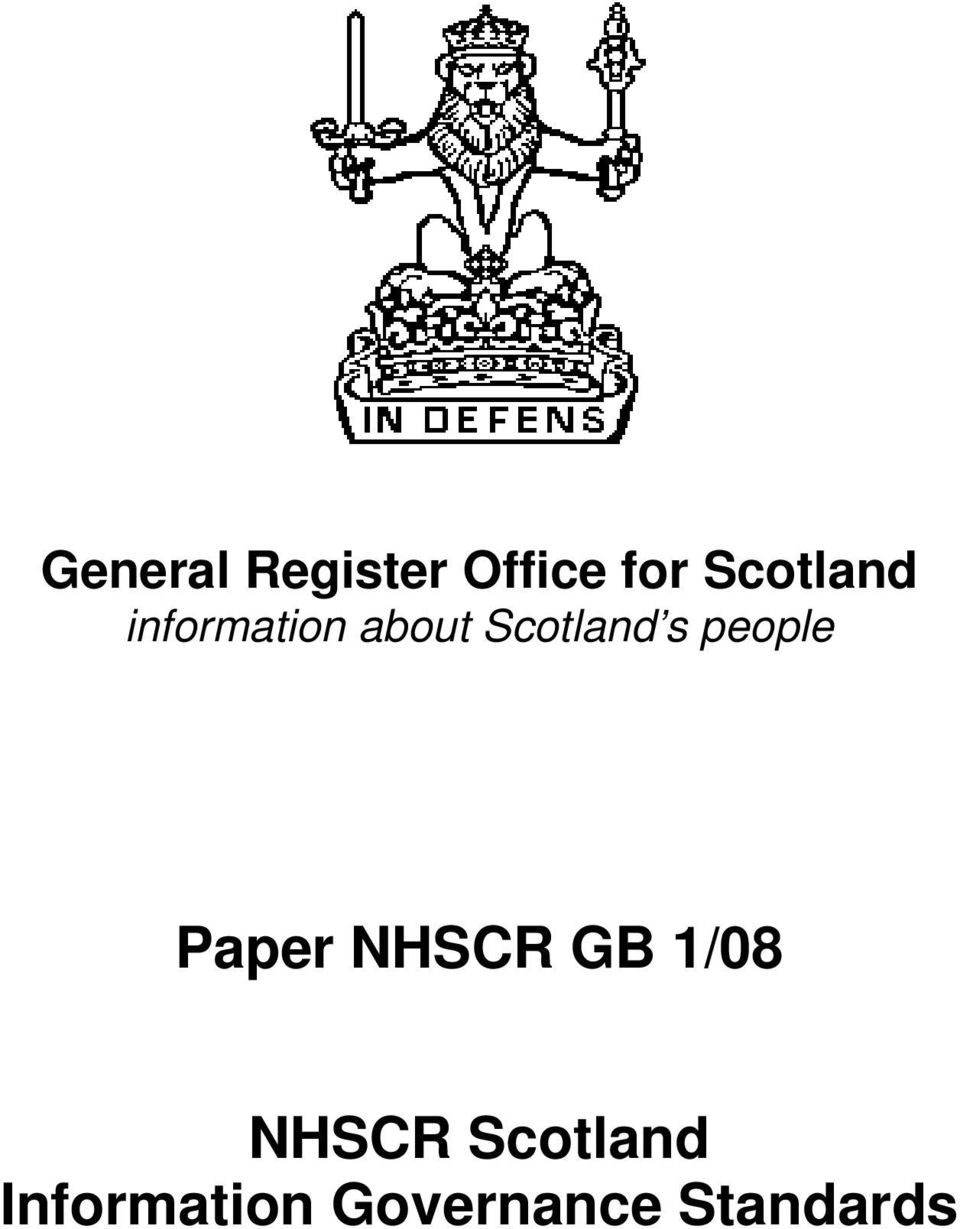 Scotland s people Paper NHSCR GB