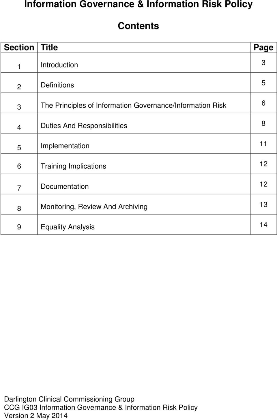Governance/Information Risk 6 4 Duties And Responsibilities 8 5 Implementation 11