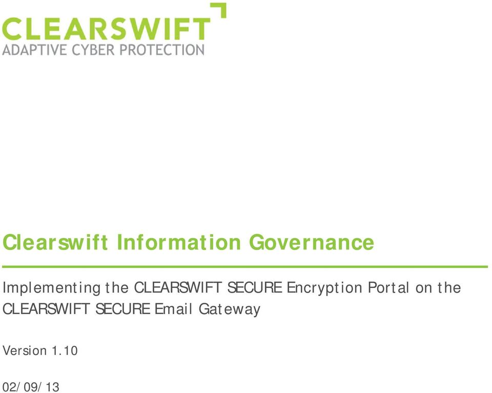 Encryption Portal on the CLEARSWIFT