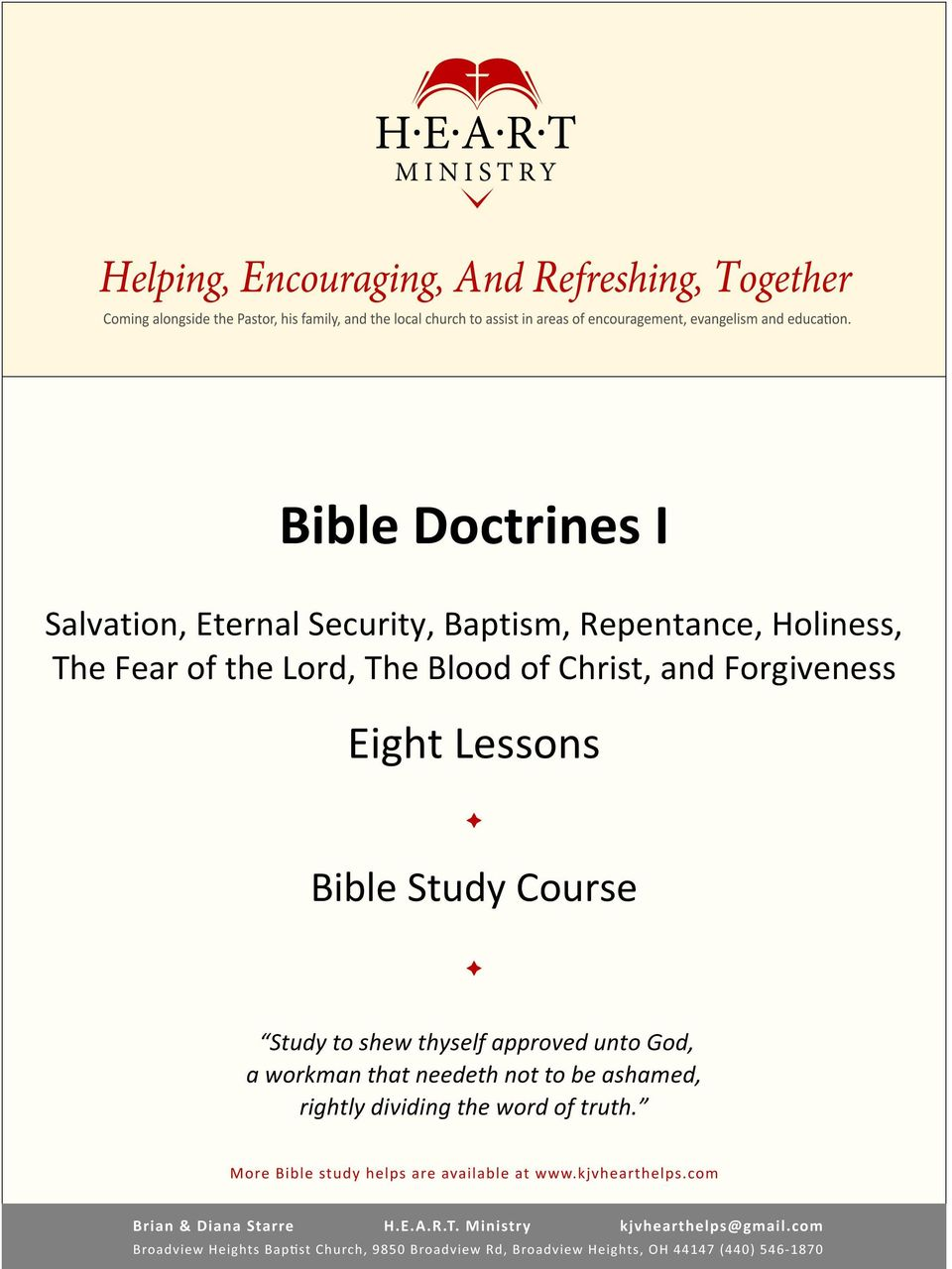 Eight Lessons Bible Study Course Study to shew thyself approved unto