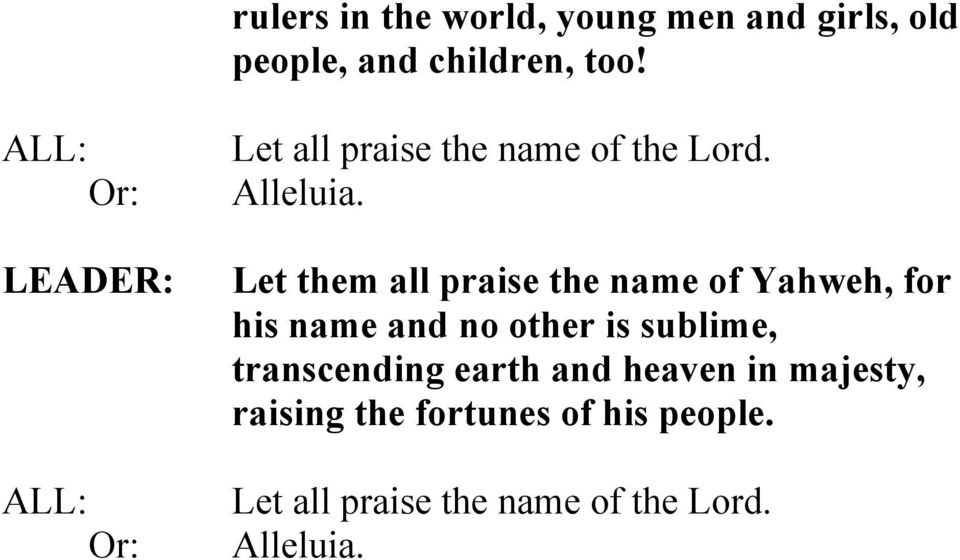 Let them all praise the name of Yahweh, for his name and