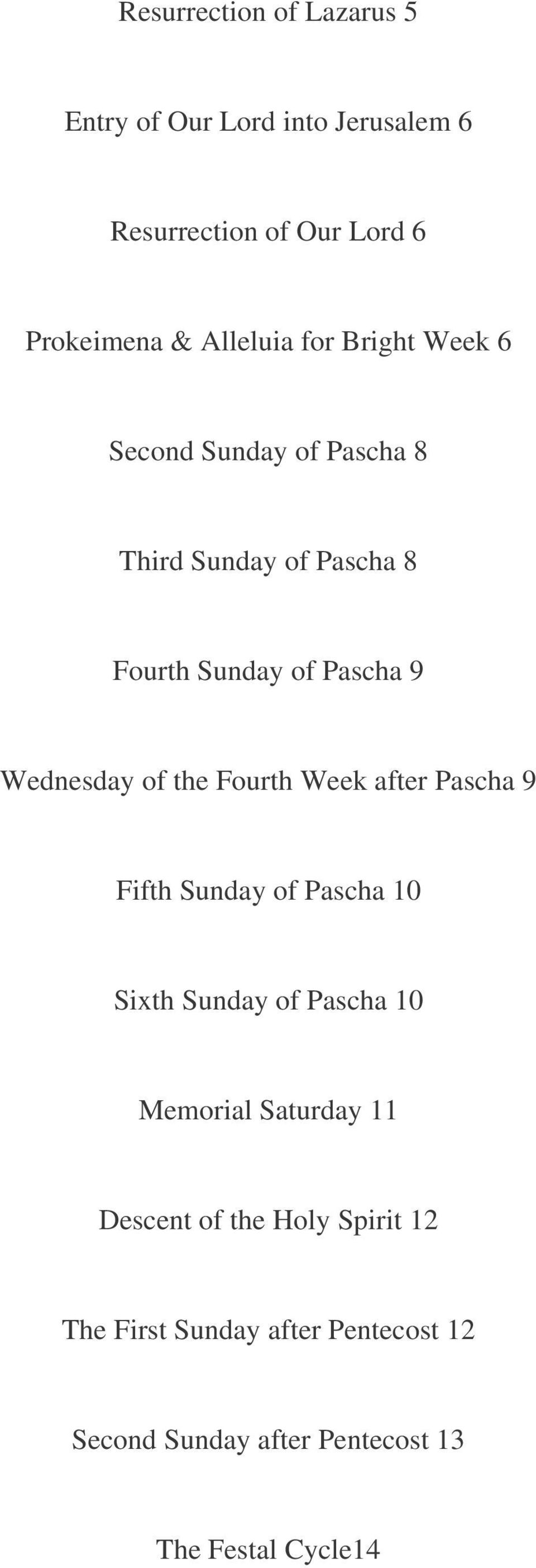 the Fourth Week after Pascha 9 Fifth Sunday of Pascha 10 Sixth Sunday of Pascha 10 Memorial Saturday 11