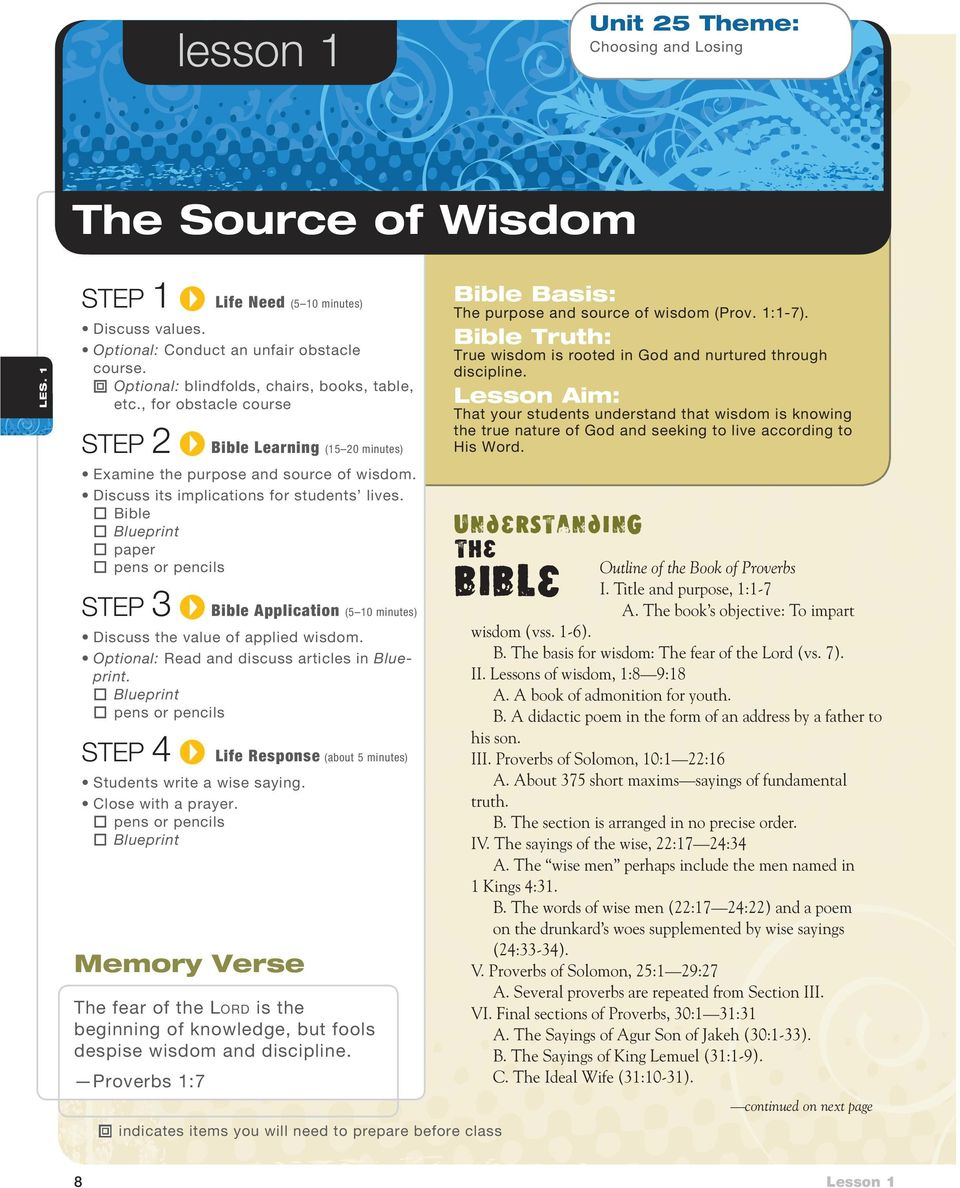 Bible Application Discuss the value of applied wisdom. Optional: Read and discuss articles in Blueprint. Blueprint pens or pencils STEP 4. Life Response (about 5 minutes) Students write a wise saying.