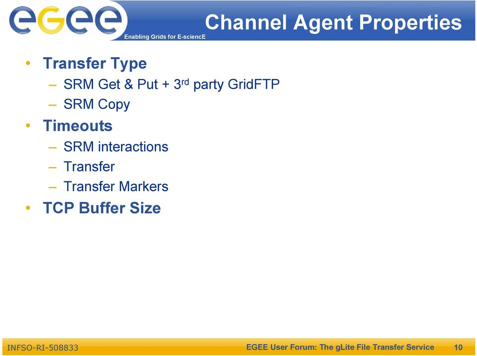 Transfer Transfer Markers TCP Buffer Size Channel Agent