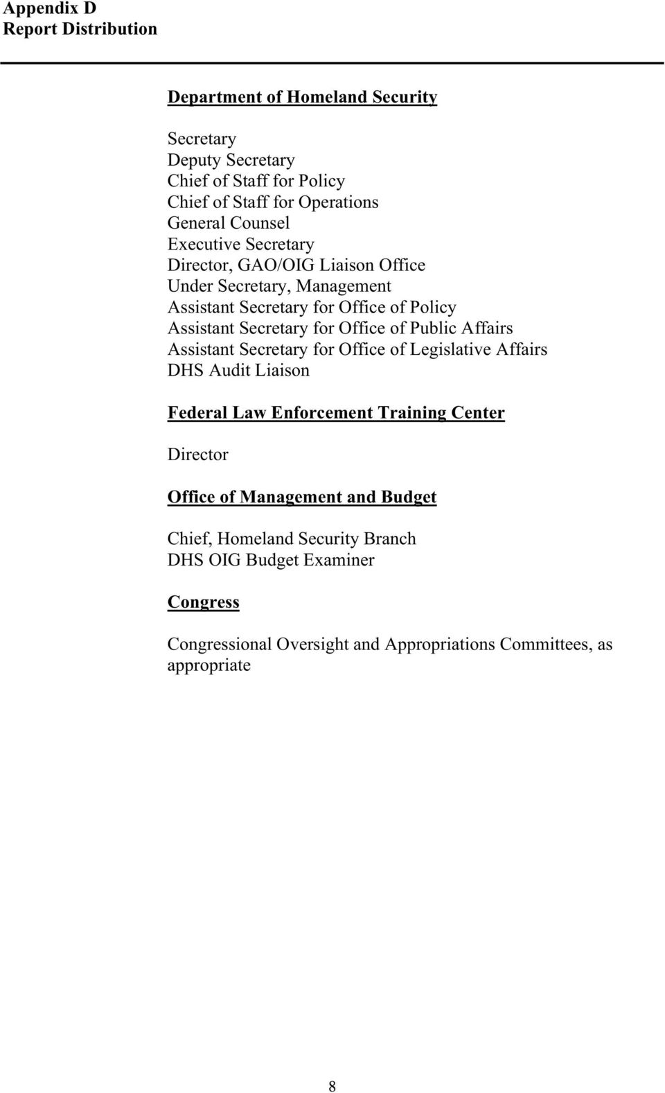 Office of Public Affairs Assistant Secretary for Office of Legislative Affairs DHS Audit Liaison Federal Law Enforcement Training Center Director Office of