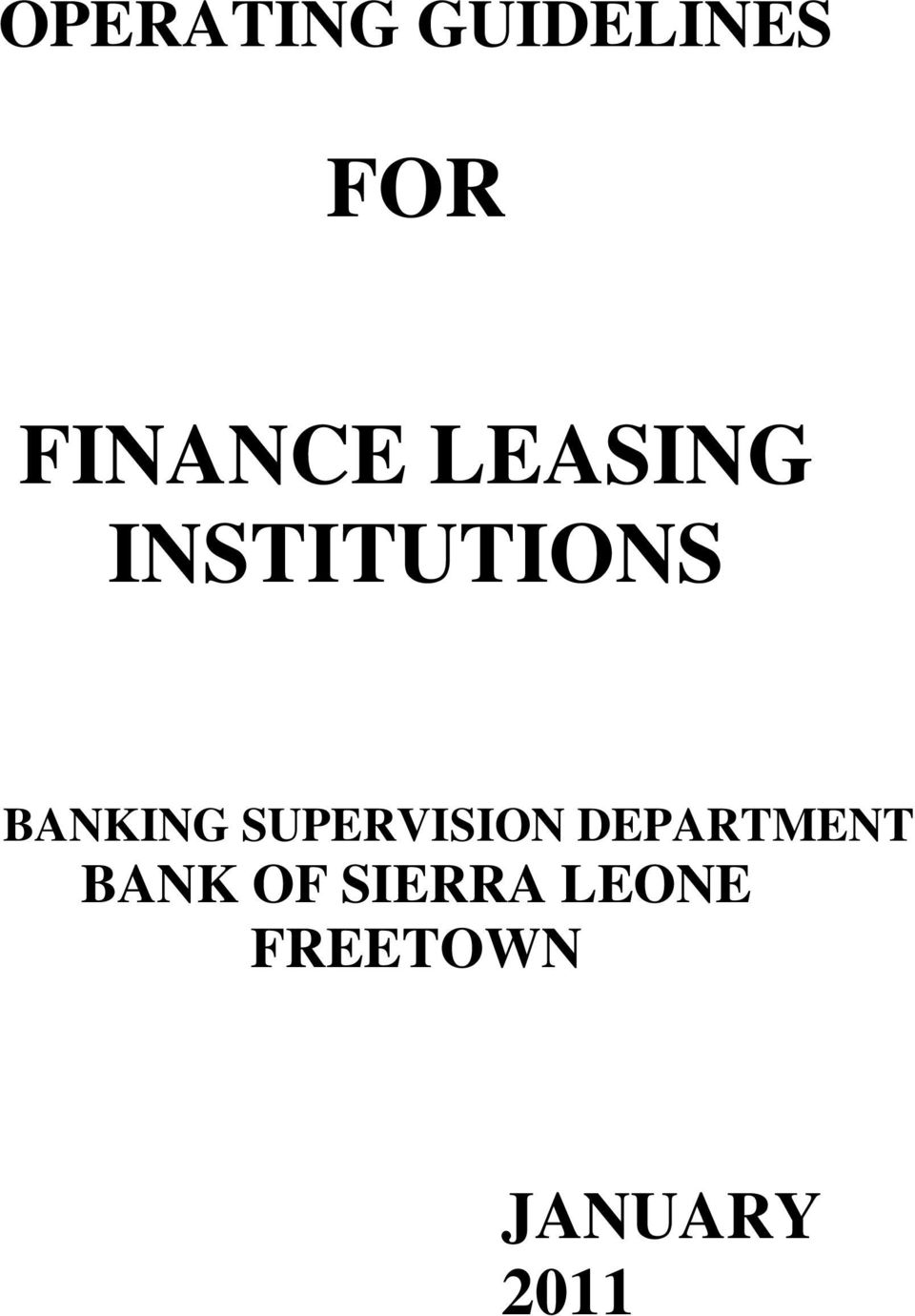 BANKING SUPERVISION DEPARTMENT