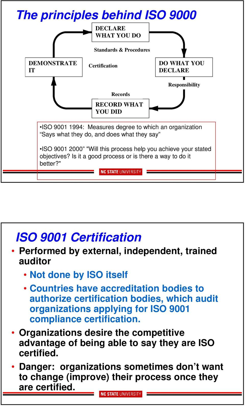 """ ISO 9001 Certification Performed by external, independent, trained auditor Not done by ISO itself Countries have accreditation bodies to authorize certification bodies, which audit organizations"