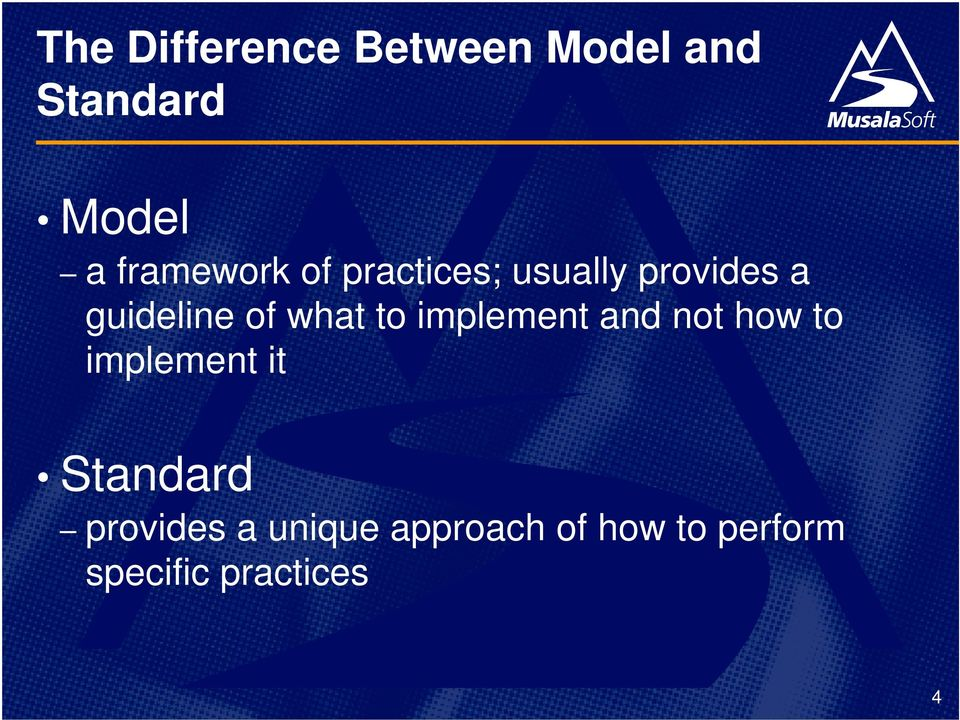 what to implement and not how to implement it Standard