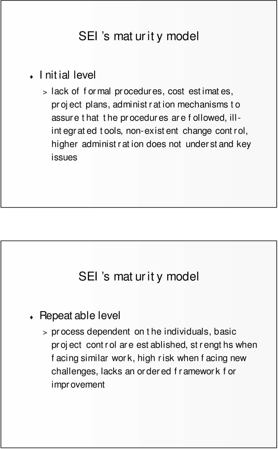 understand key issues SEI s maturity model Repeatable level > process dependent on the individuals, basic project control are