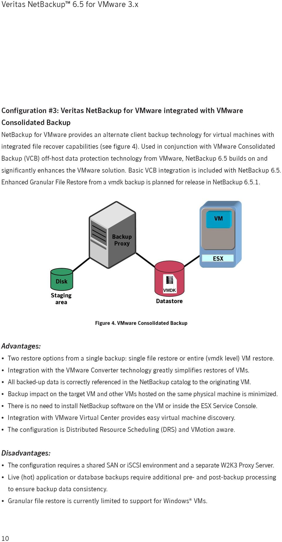 5 builds on and significantly enhances the VMware solution. Basic VCB integration is included with NetBackup 6.5. Enhanced Granular File Restore from a vmdk backup is planned for release in NetBackup 6.