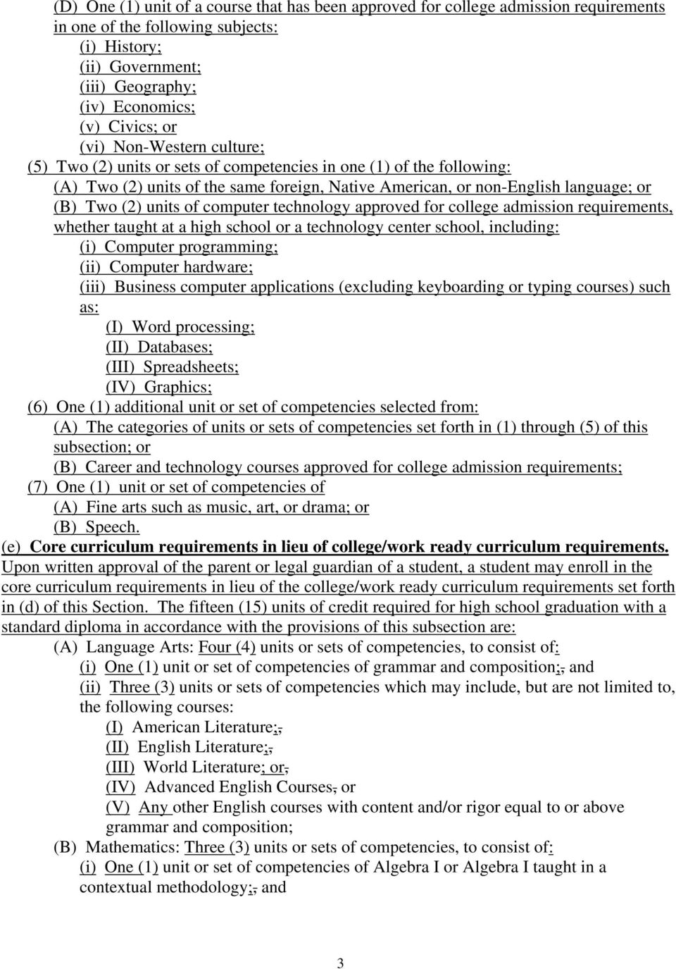 of computer technology approved for college admission requirements, whether taught at a high school or a technology center school, including: (i) Computer programming; (ii) Computer hardware; (iii)