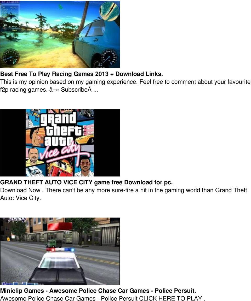.. GRAND THEFT AUTO VICE CITY game free Download for pc. Download Now.