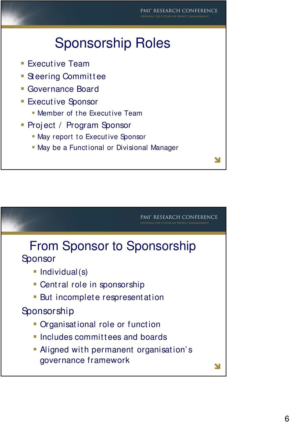 Sponsor to Sponsorship Sponsor Individual(s) Central role in sponsorship But incomplete respresentation