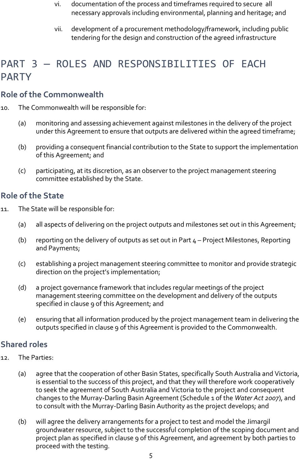 including public tendering for the design and construction of the agreed infrastructure PART 3 ROLES AND RESPONSIBILITIES OF EACH PARTY Role of the Commonwealth 10.