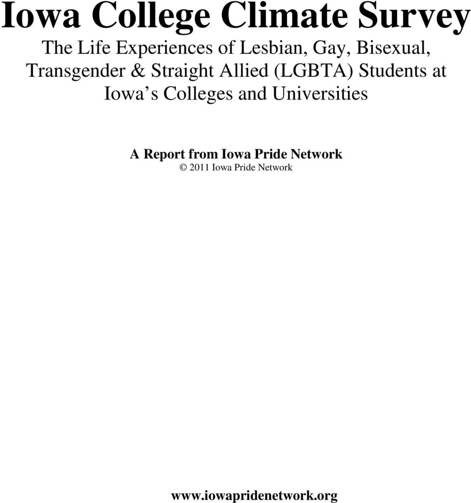 (LGBTA) Students at Iowa s Colleges and Universities A