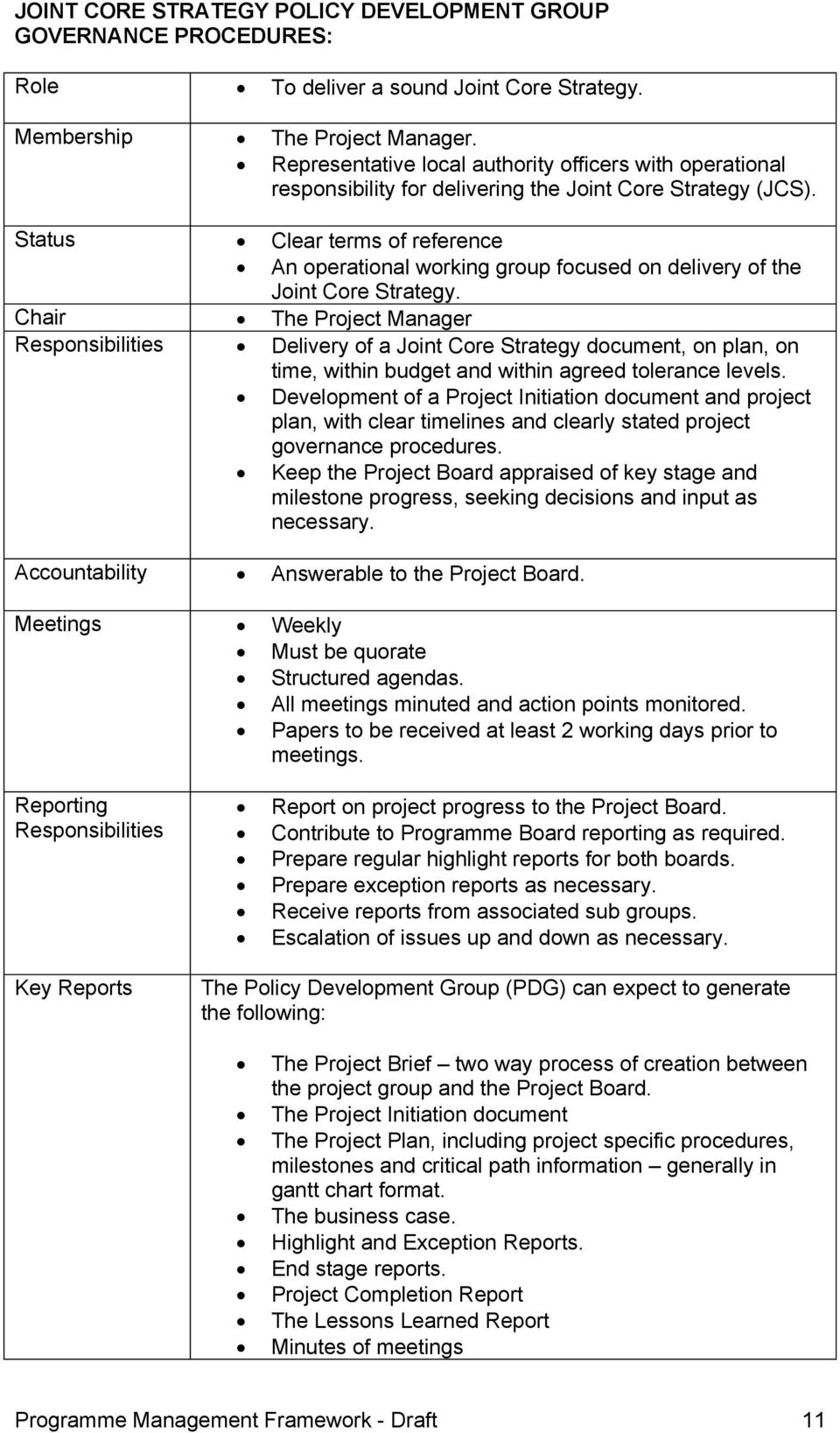 Status Clear terms of reference An operational working group focused on delivery of the Joint Core Strategy.