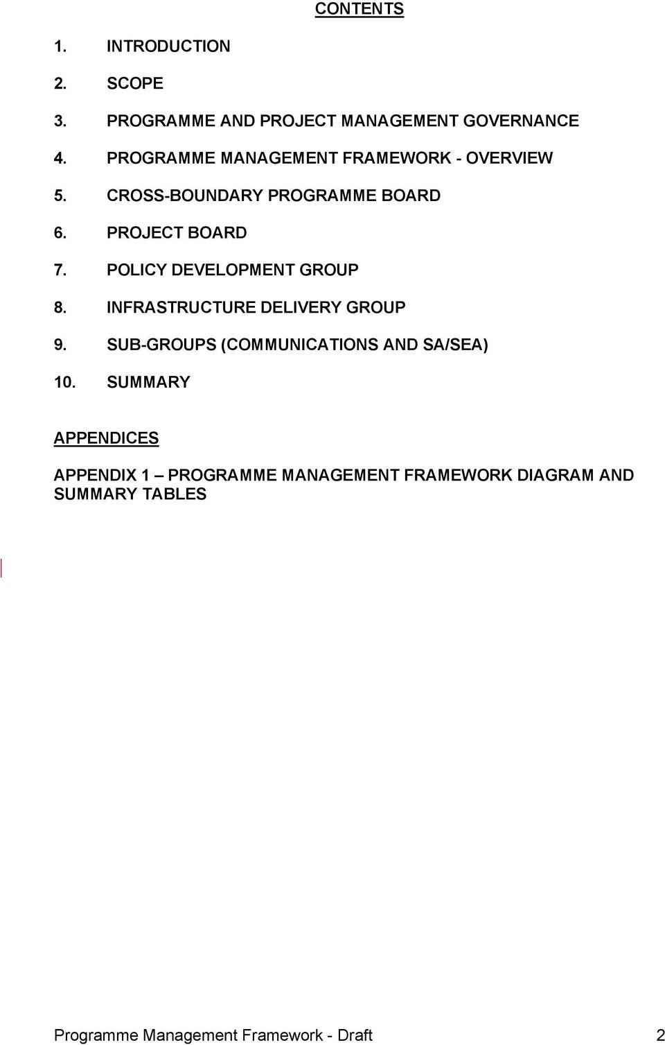 POLICY DEVELOPMENT GROUP 8. INFRASTRUCTURE DELIVERY GROUP 9. SUB-GROUPS (COMMUNICATIONS AND SA/SEA) 10.