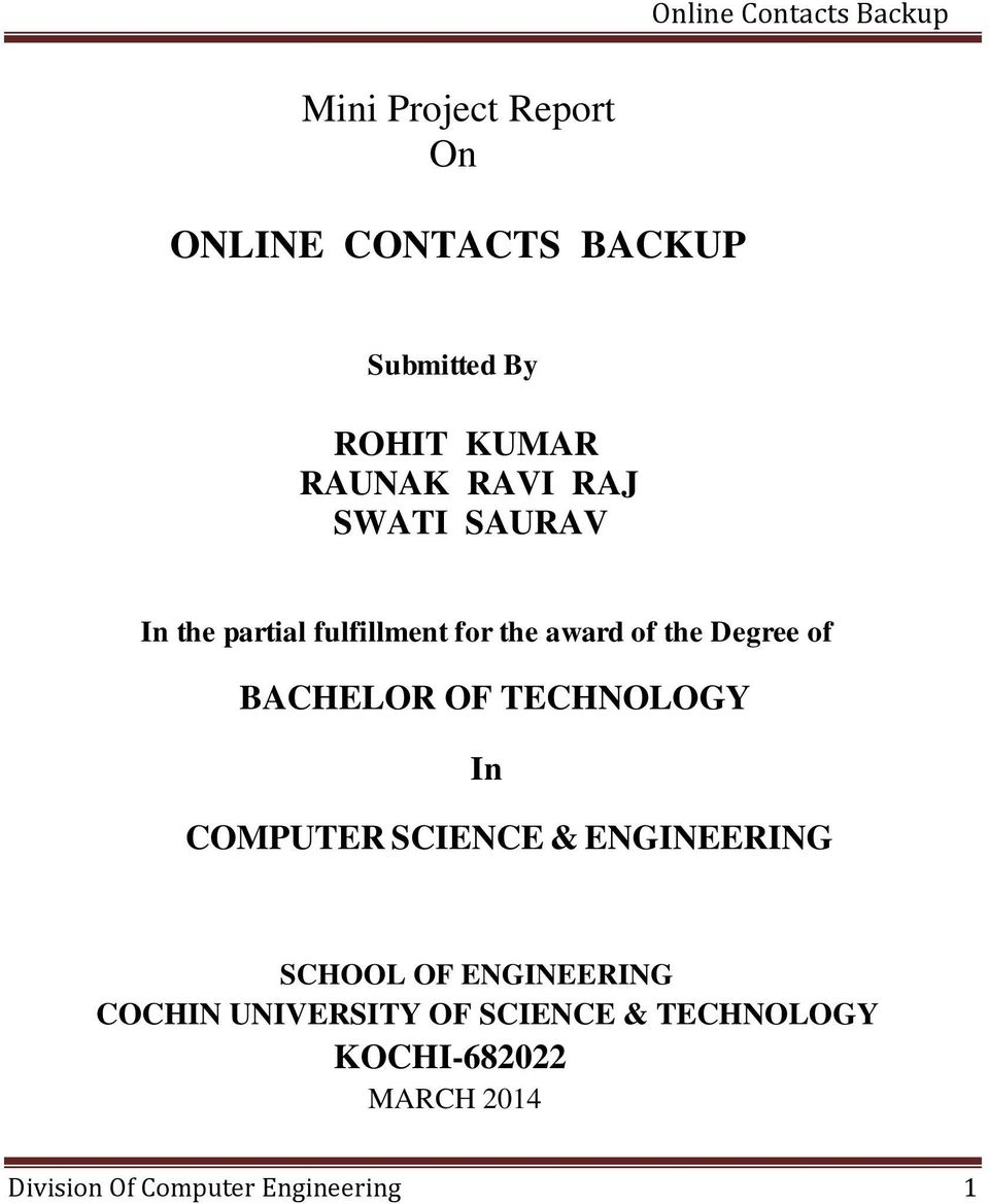 Mini project report on online contacts backup pdf - Div computer science ...