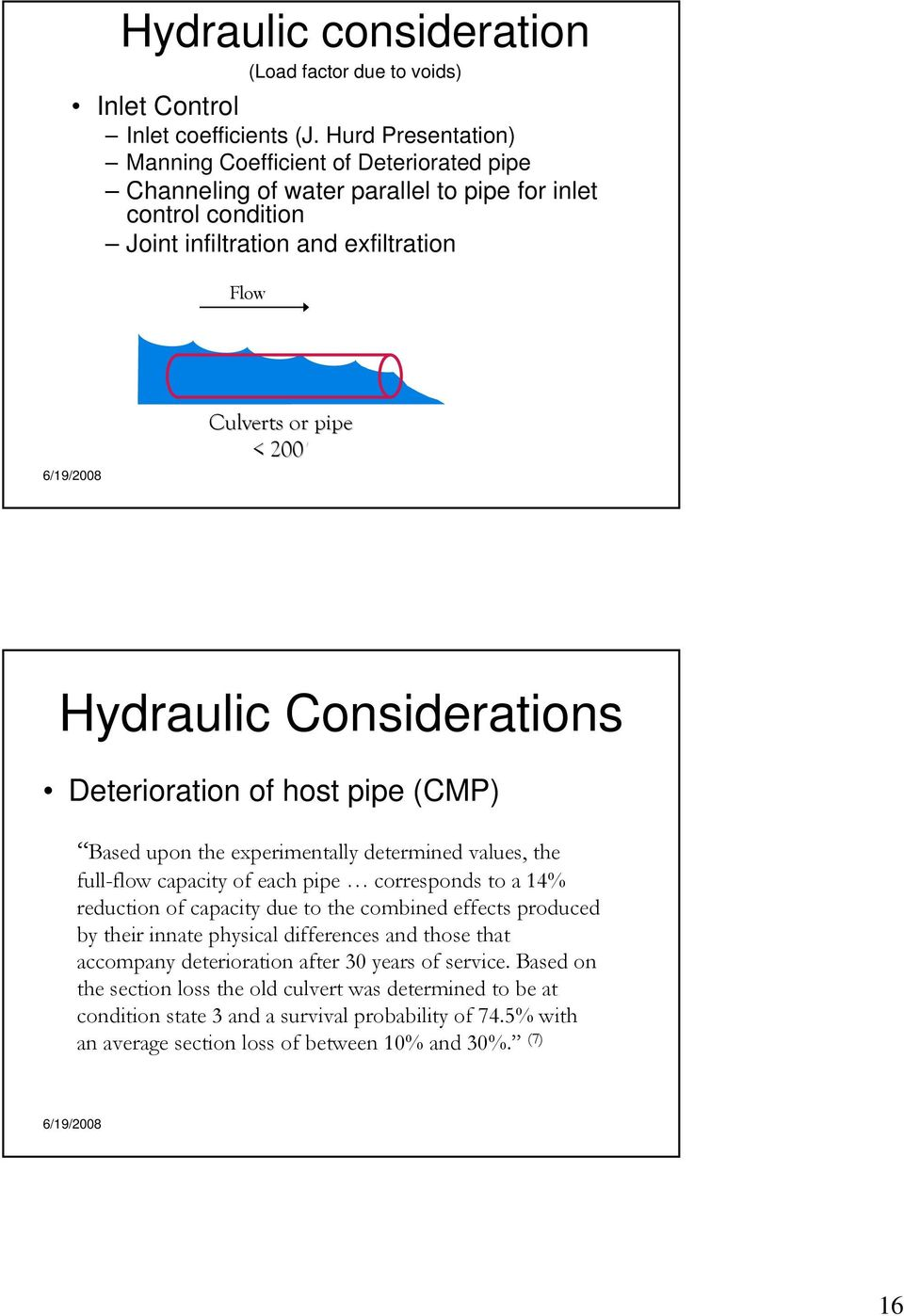 Hydraulic Considerations Deterioration of host pipe (CMP) Based upon the experimentally determined values, the full-flow capacity of each pipe corresponds to a 14% reduction of capacity due to