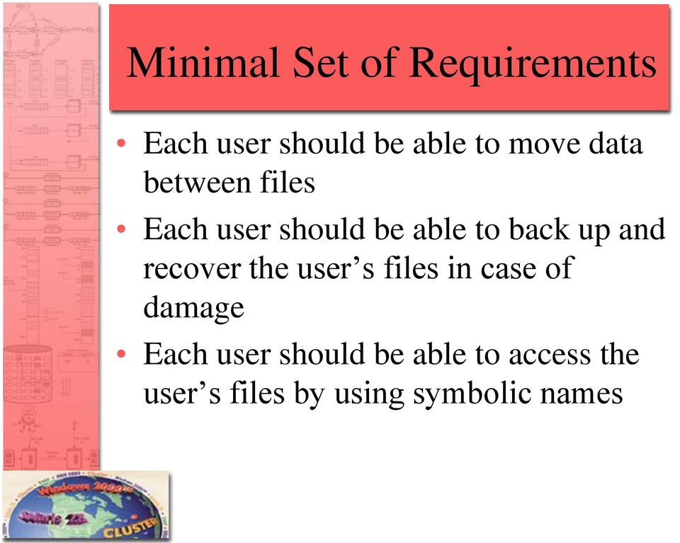 and recover the user s files in case of damage Each user