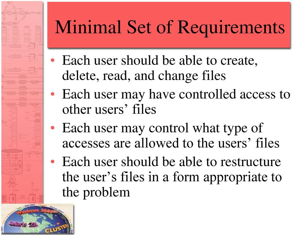 user may control what type of accesses are allowed to the users files Each user