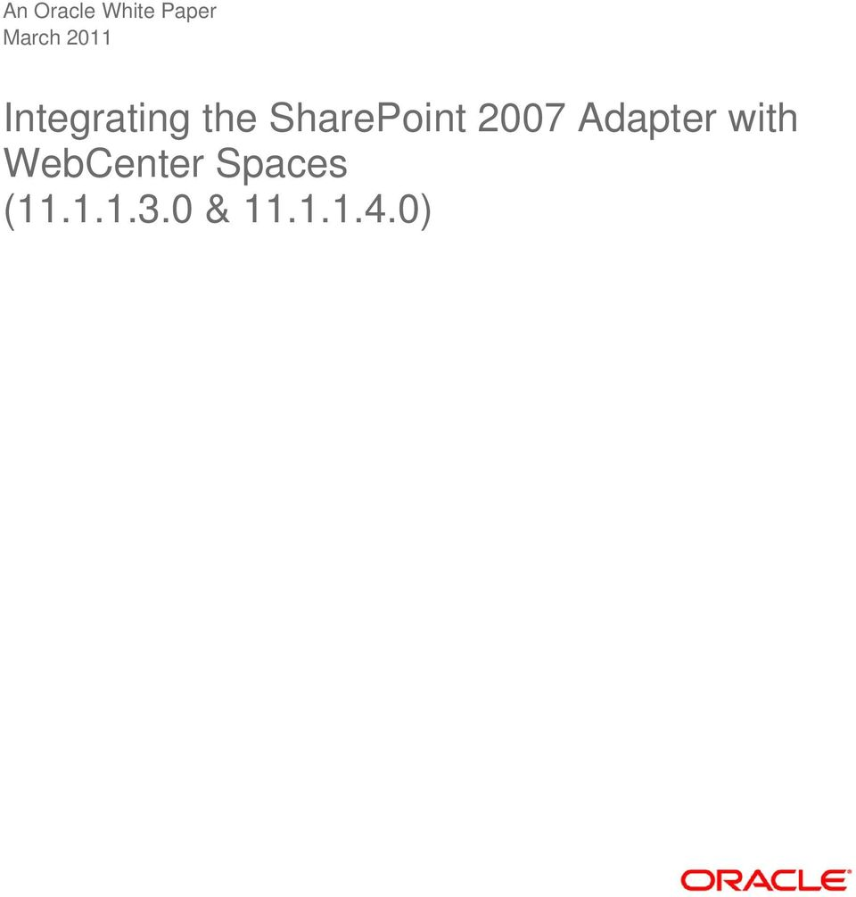 SharePoint 2007 Adapter with