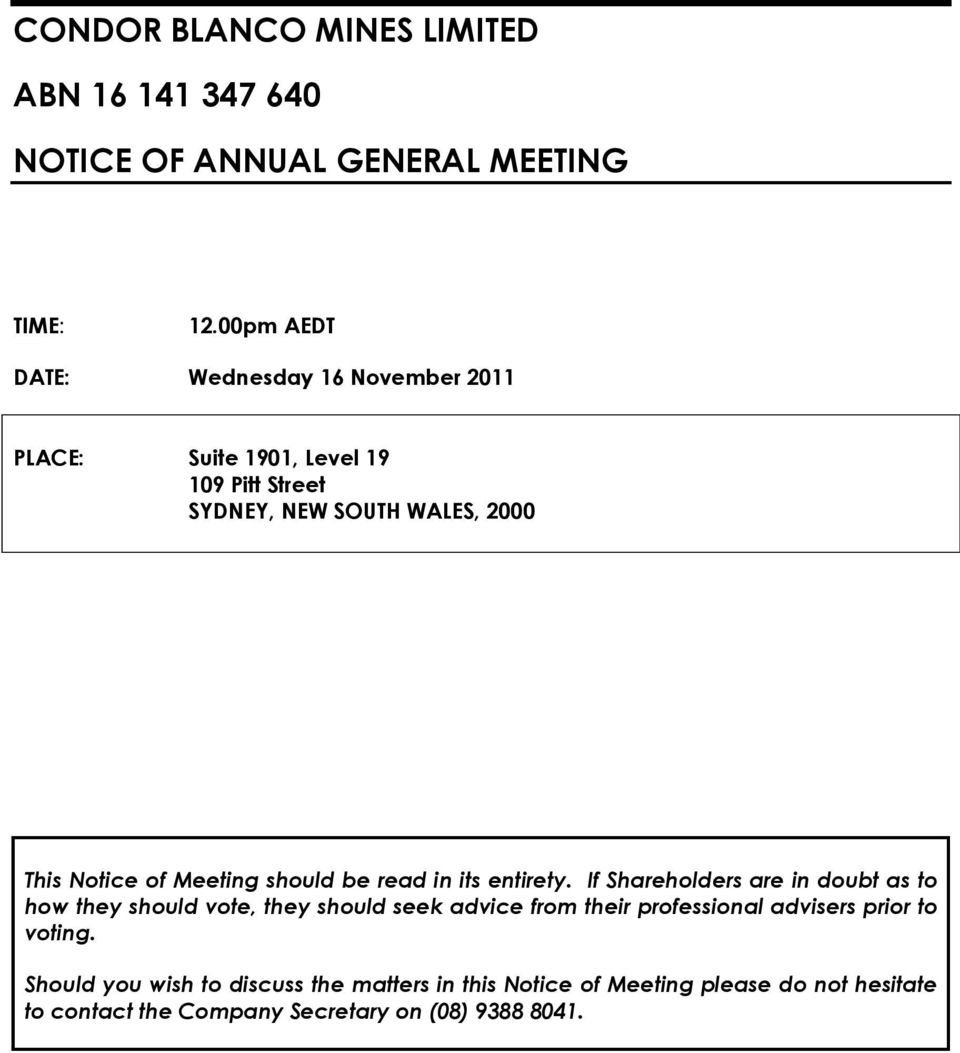 Meeting should be read in its entirety.